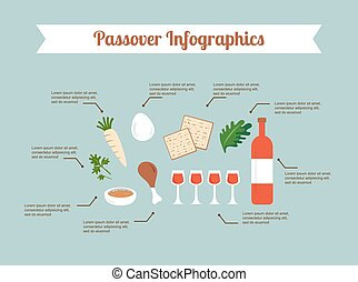 Passover seder flat icons happy Jewish holiday Pesach