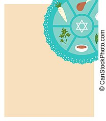 Passover seder flat icons .greeting card template - Passover...