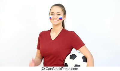 Soccer Female with Russian Flag - Young Girl Fan Holds...