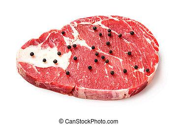 Beef rib eye steak - Close up raw beef rib eye steak with...
