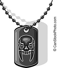 War skull dog tag