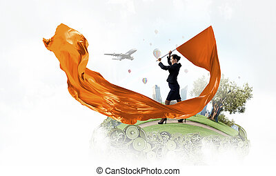 Woman waving flag - Young determined businesswoman with...