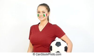 Winking Soccer Female with Italian Flag - Young Girl Fan...