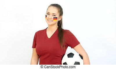 Winking Soccer Female with German Flag - Young Girl Fan...