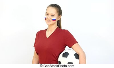 Winking Soccer Female with Russian Flag - Young Girl Fan...