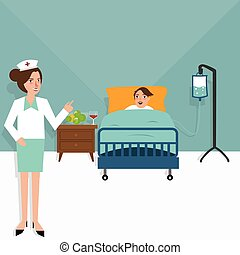 Hospital nurse patient in bed room  sick health care treatment clinic