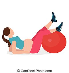 pregnant woman gym exercise fitness pregnancy ball healthy female