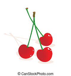 Three red ripe cherries - Vector illustration of three red...