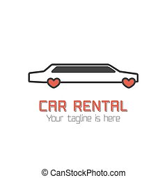 Car rental vector template label. Limo for wedding rental....
