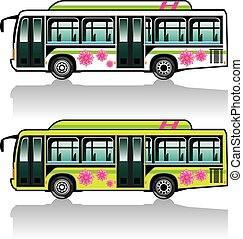 Green Hybrid Bus vector