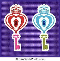 Heart and a key B/W image vector