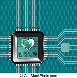 Computer processor with a heart and a code