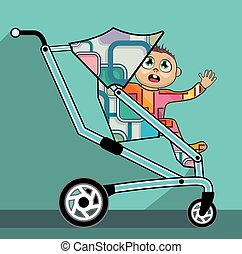 Baby in a stroller  cartoon