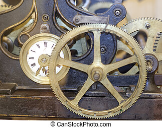detail of a old mechanical clock