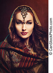 Beautiful young woman in shawl - Beautiful young woman with...
