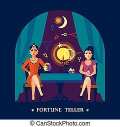 Fortune Teller Cristal Ball Flat Illustration - Beautiful...