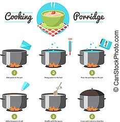 Instructions For Cooking Porridge - Step by step set icons...