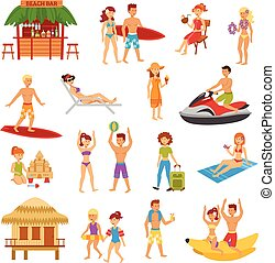 Beach flat set - Beach flat icons set with people on summer...