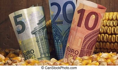 Corn harvest profit in Europe, euro banknotes in pile of...