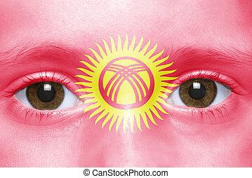 human's face with kyrgyz flag