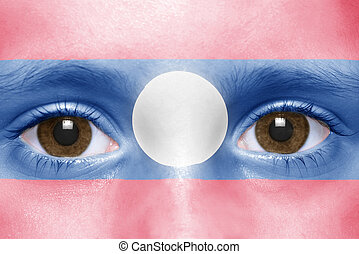 human's face with laotian flag