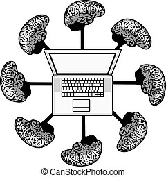 Multi-mind computer. Business Network. E-learning