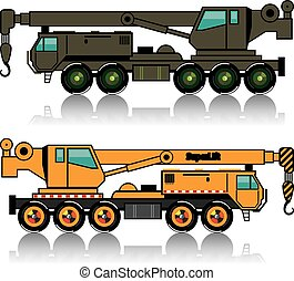 Military heavy crane truck. n orange one.
