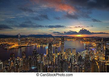 Hong Kong City Sunrise at Victoria park - Hong Kong City...