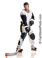Roller Hockey Player - Roller hockey player. Studio shot...