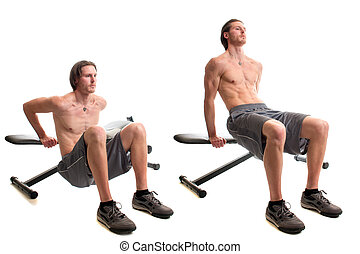 Bench Dip Exercise - Bench dip exercise. Studio shot over...