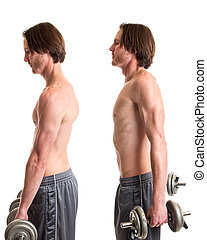 Dumbbell Shrug Exercise - Dumbbell shrug exercise. Studio...
