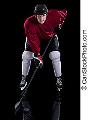 Ice Hockey Player - Ice hockey player. Studio shot over...
