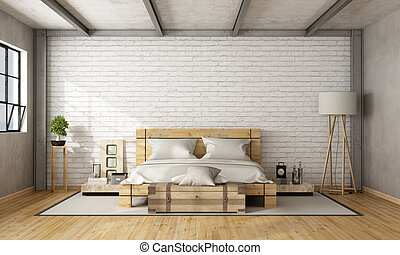 Wooden double bed in loft with brick wall and iron beams -...