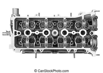 Cylinder head combustion engine isolated on white background