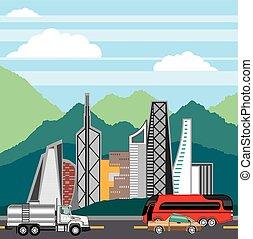 Cars city landscape