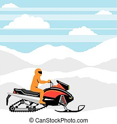 Snowmobile landscape  - Snowmobile landscape