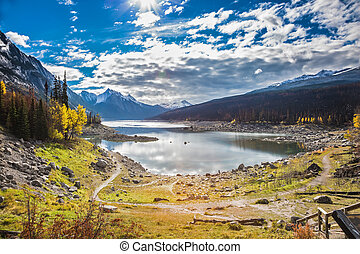 The picturesque Medicin Lake, has strongly shoaled in the...