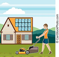 Woman with lawnmower at her house