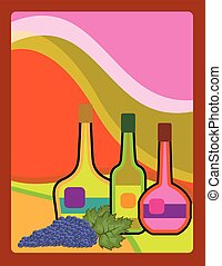 Abstract bottles and grapes