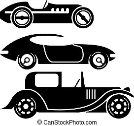 Vintage retro car racing coupe and limo simple vector