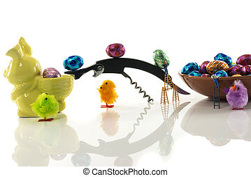 ready for easter - easter bunny prepared with easter eggs by...