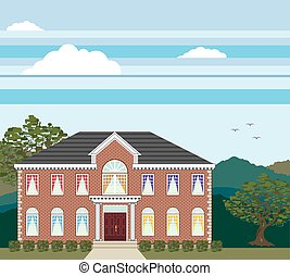 Large mansion house brick detailed