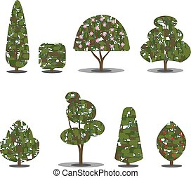 Trimmed tree bush collection Stylized