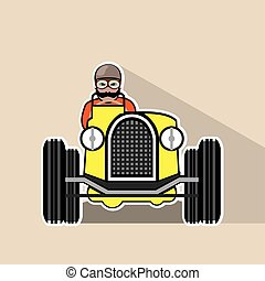 vintage race car with driver