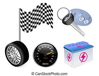 auto icon set on white background