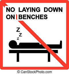 No laying down on benches Sign