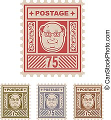 Mail Postage Stamp 75 with cartoon face