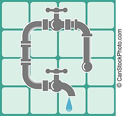 Plumbing pipe icon  and tiles