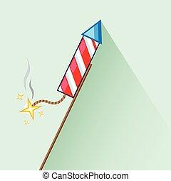 Celebration Fireworks rocket lit