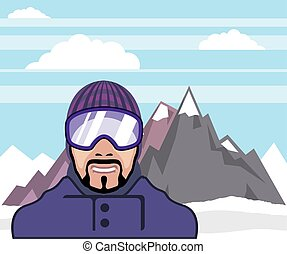 Snow goggles. mountains landscape.